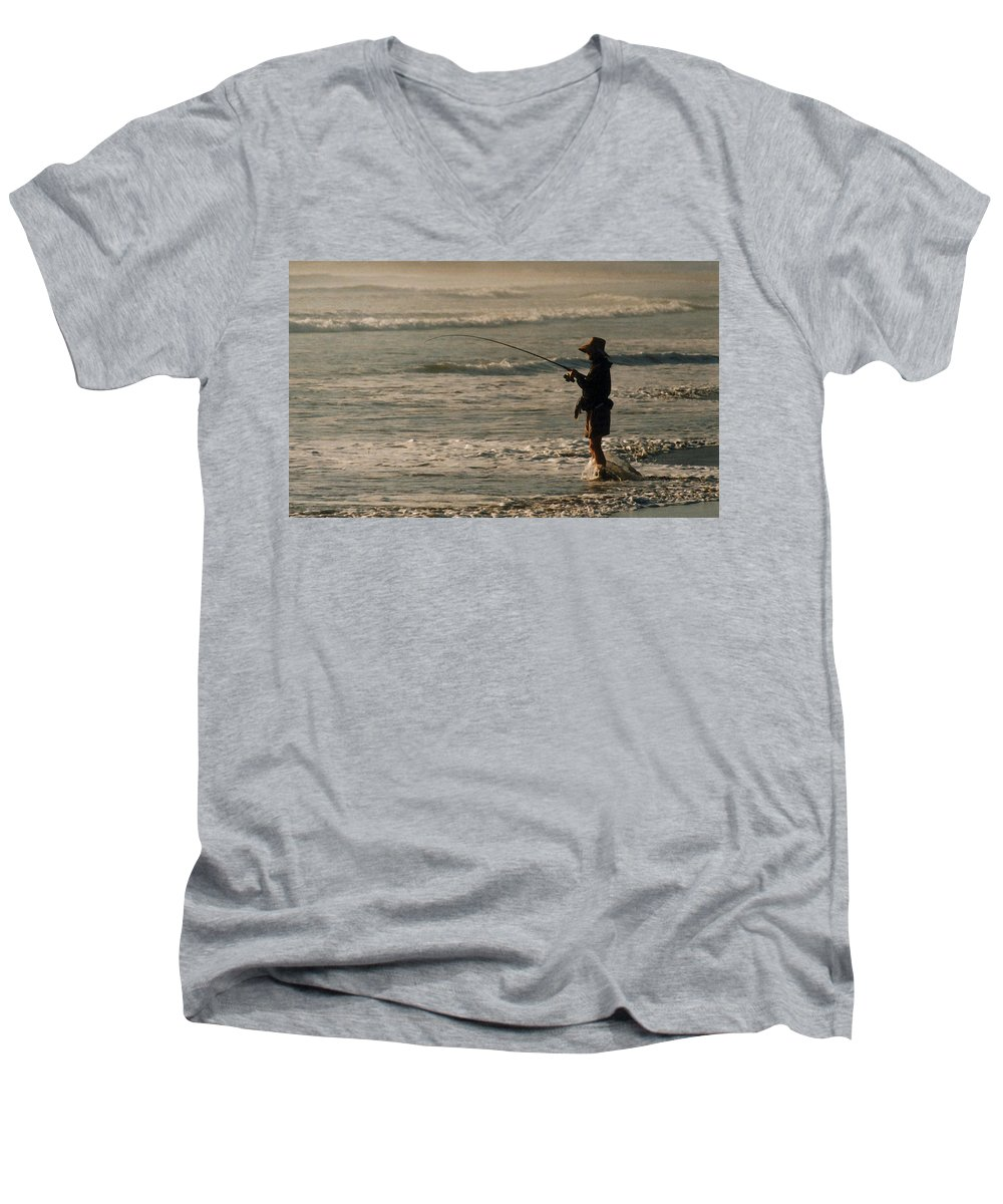 Fisherman Men's V-Neck T-Shirt featuring the photograph Fisherman by Steve Karol