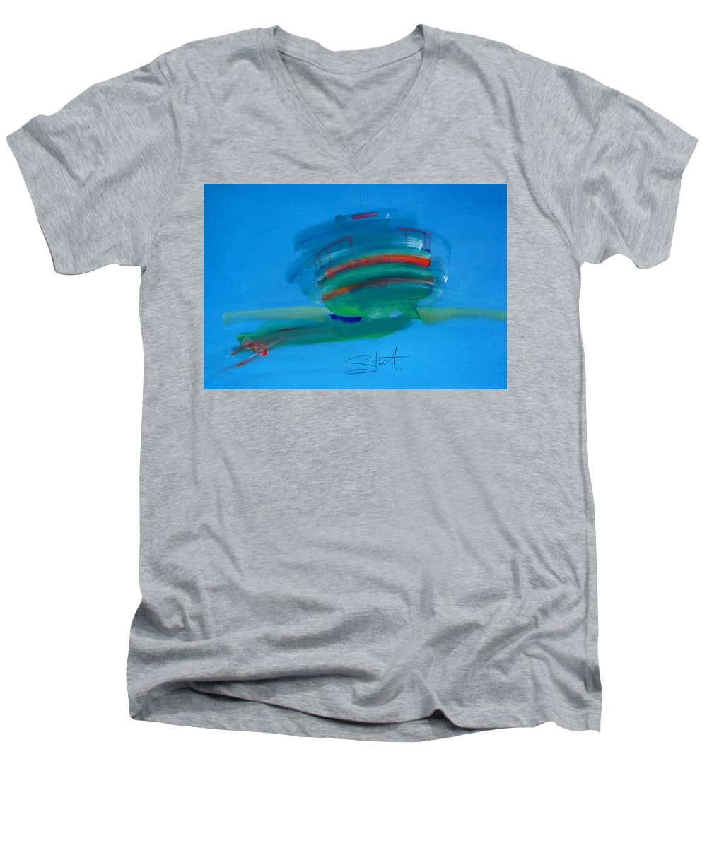 Fishing Boat Men's V-Neck T-Shirt featuring the painting Fishing Boat Hastings by Charles Stuart