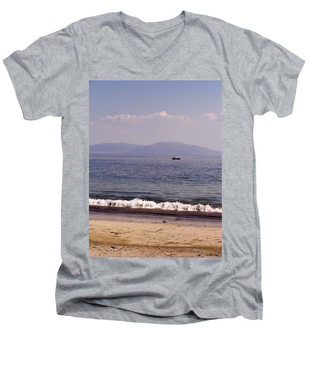 Irish Men's V-Neck T-Shirt featuring the photograph Fishing Boat On Ventry Harbor Ireland by Teresa Mucha