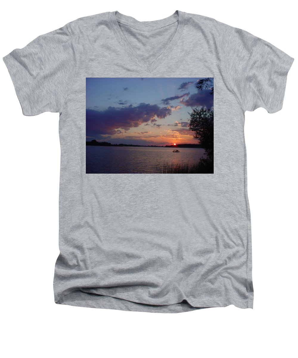 St.lawrence River Men's V-Neck T-Shirt featuring the photograph Fishing On The St.lawrence River. by Jerrold Carton