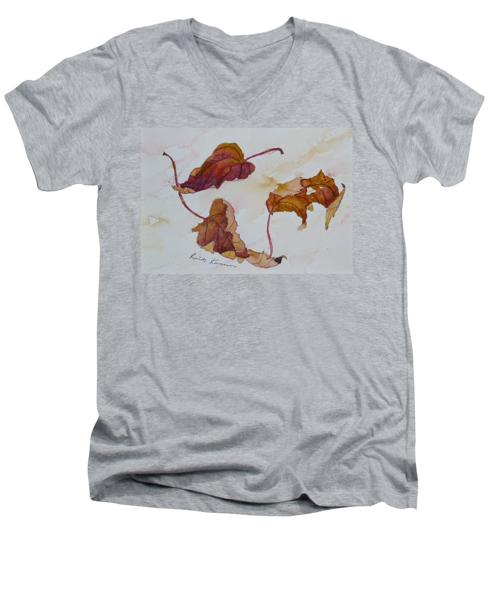 Fall Men's V-Neck T-Shirt featuring the painting Floating by Ruth Kamenev
