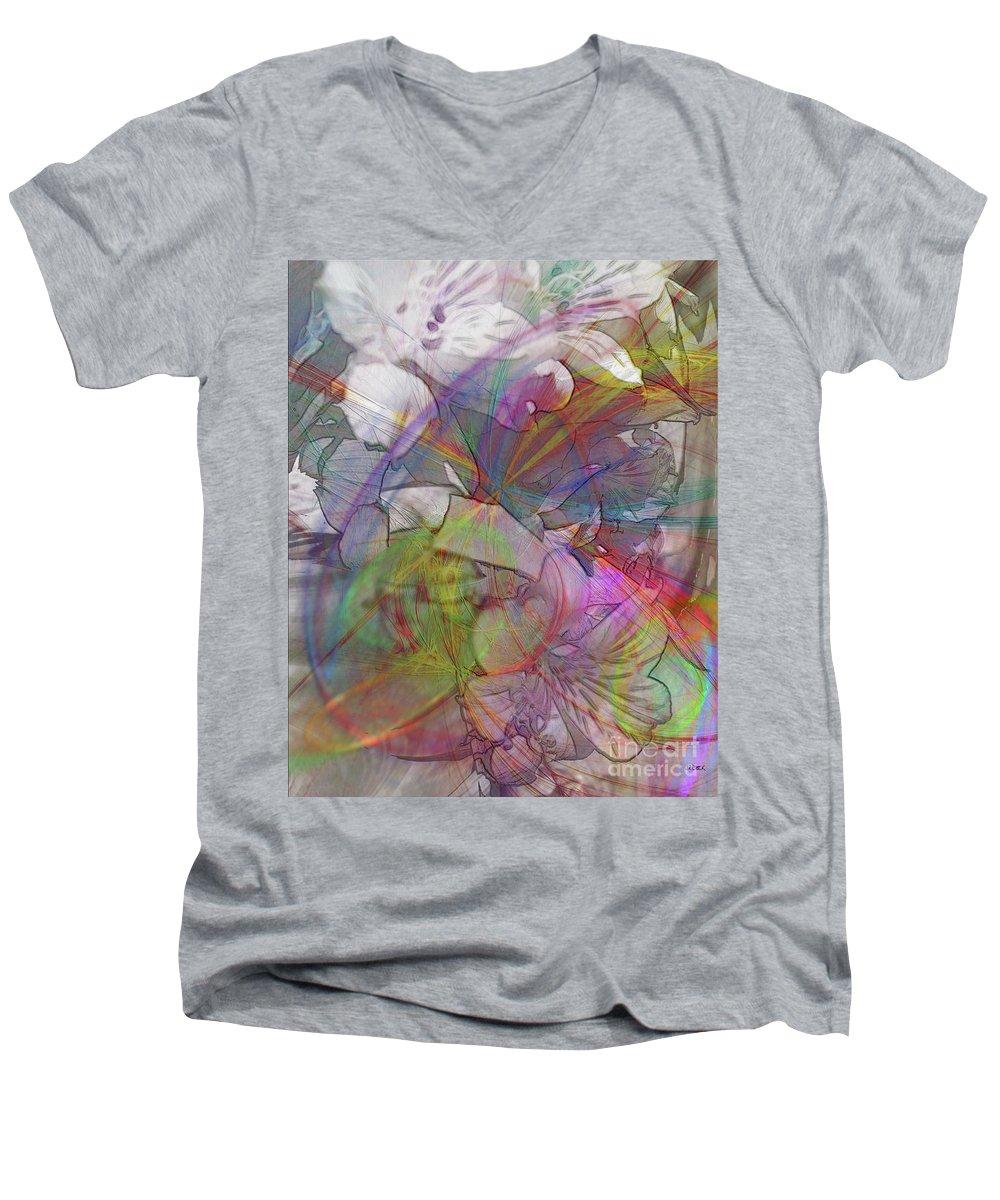 Floral Fantasy Men's V-Neck T-Shirt featuring the digital art Floral Fantasy by John Beck