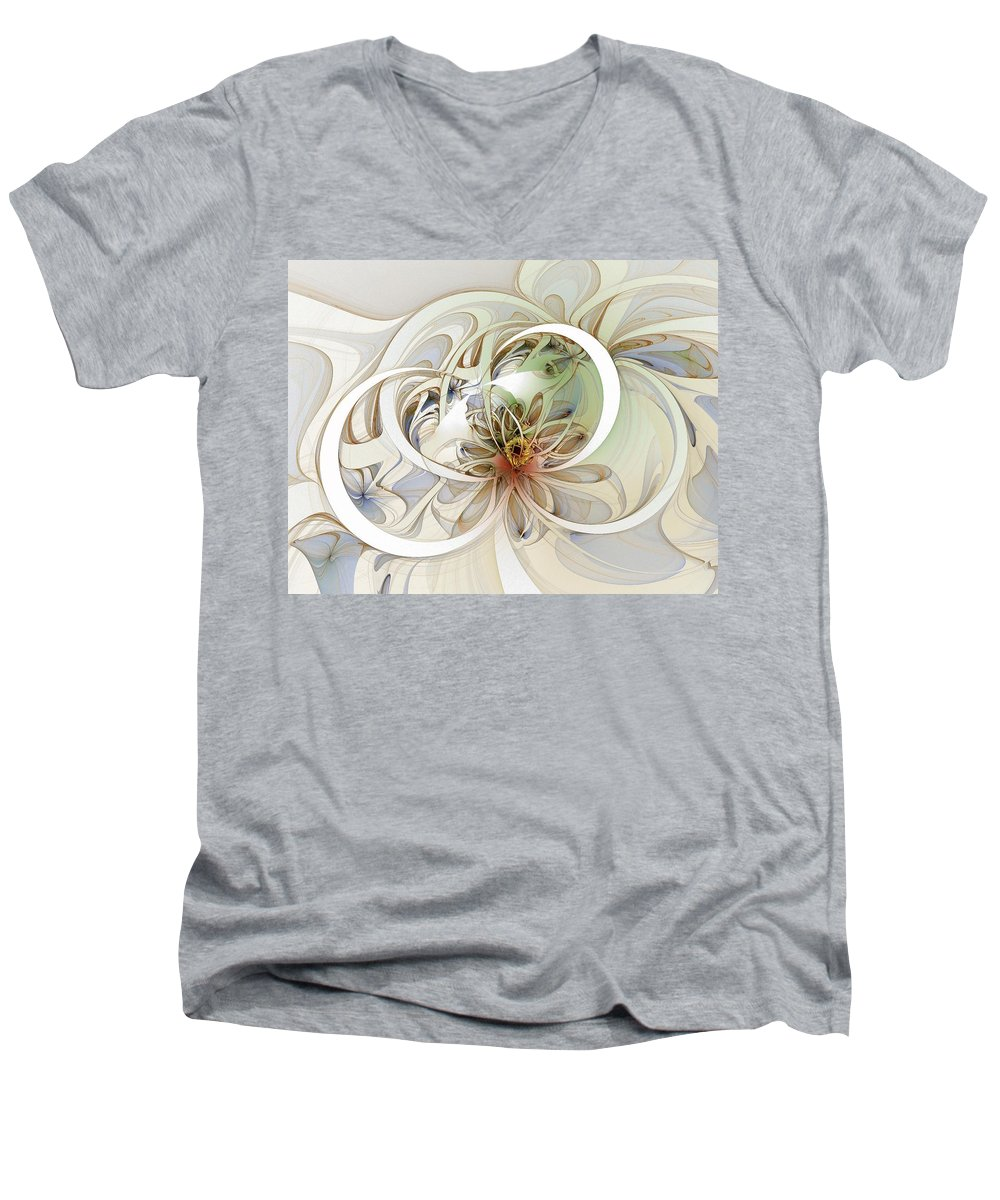Digital Art Men's V-Neck T-Shirt featuring the digital art Floral Swirls by Amanda Moore