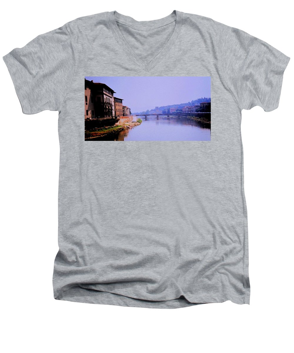 Florence Men's V-Neck T-Shirt featuring the photograph Florence by Ian MacDonald