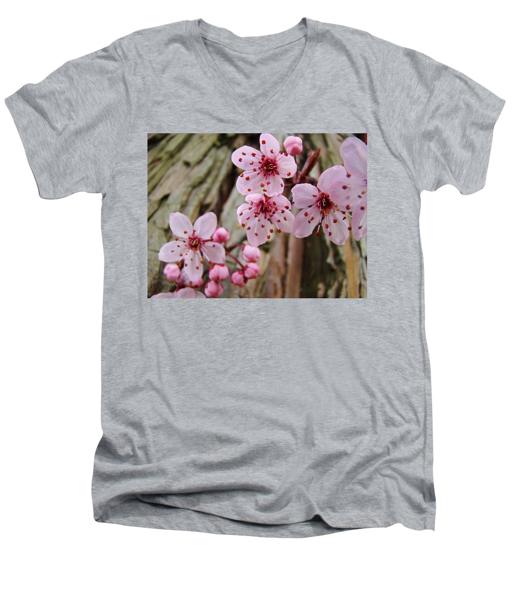 Tree Men's V-Neck T-Shirt featuring the photograph Flower Blossoms Pink Tree Blossoms Art Print Giclee Spring Flowers by Baslee Troutman
