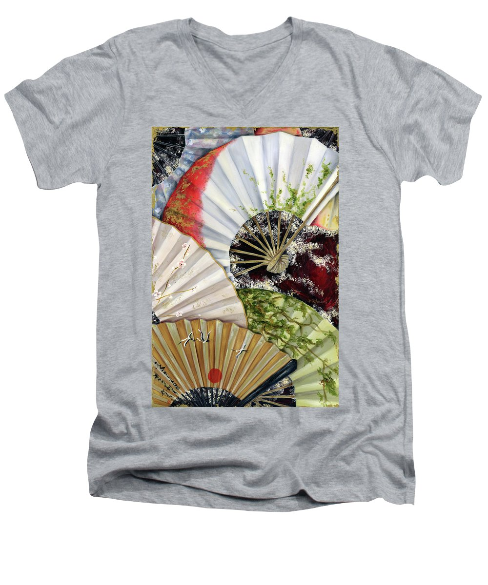 Japanese Men's V-Neck T-Shirt featuring the painting Flower Garden by Hiroko Sakai