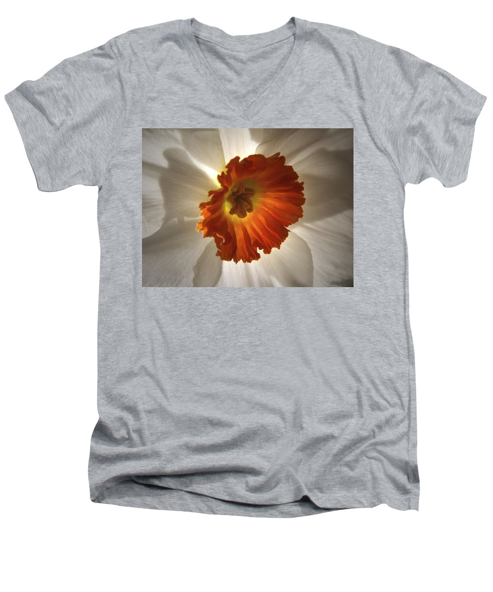 Flowers Men's V-Neck T-Shirt featuring the photograph Flower Narcissus by Nancy Griswold