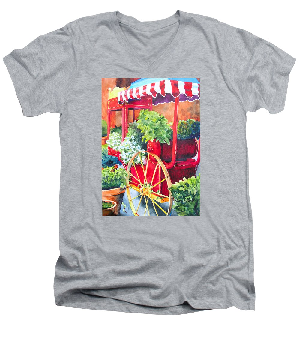 Floral Men's V-Neck T-Shirt featuring the painting Flower Wagon by Karen Stark