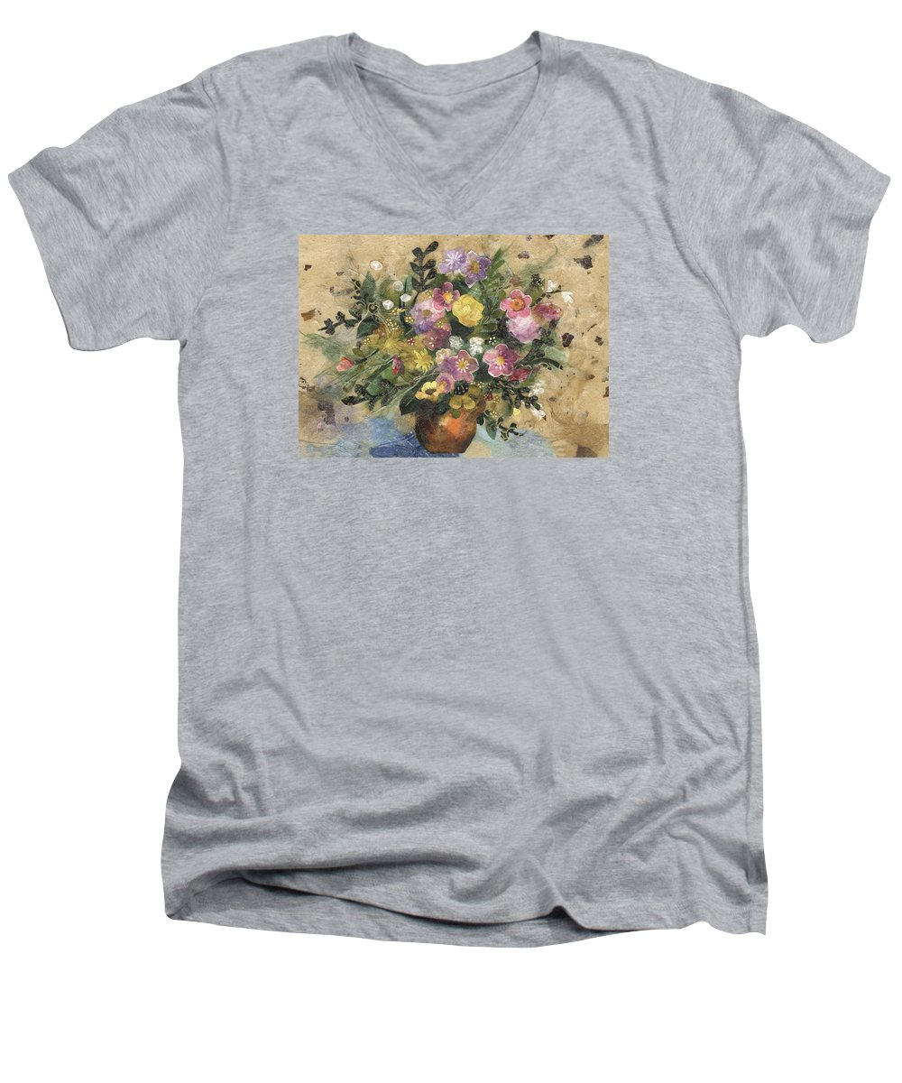 Limited Edition Prints Men's V-Neck T-Shirt featuring the painting Flowers In A Clay Vase by Nira Schwartz