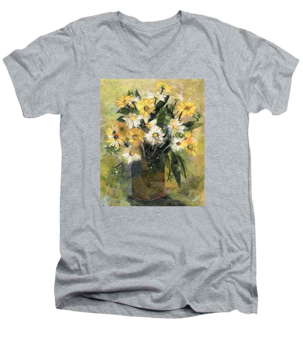 Limited Edition Prints Men's V-Neck T-Shirt featuring the painting Flowers In White And Yellow by Nira Schwartz