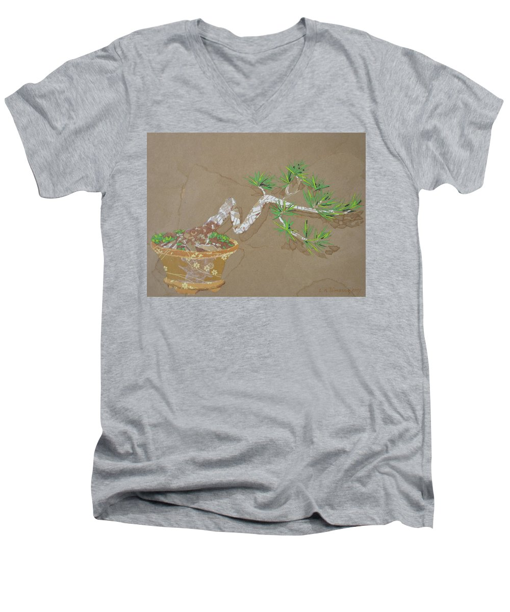 Banzai Tree Men's V-Neck T-Shirt featuring the painting For Inge by Leah Tomaino