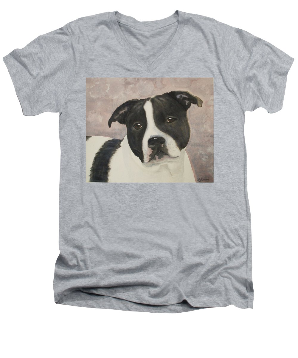 Dog Men's V-Neck T-Shirt featuring the painting For Me by Ally Benbrook