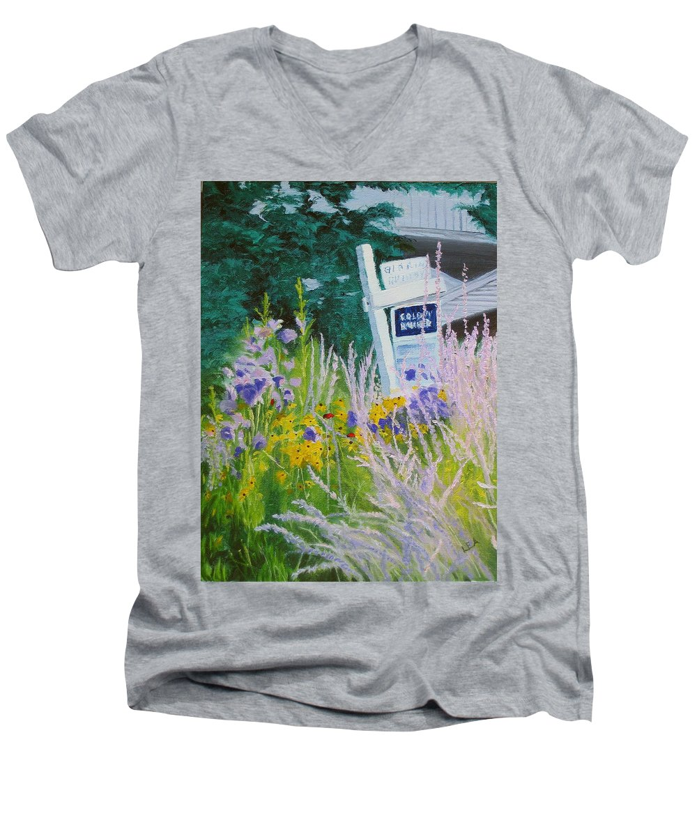 Landscape Men's V-Neck T-Shirt featuring the painting For Sale - A Patch Of Paradise by Lea Novak