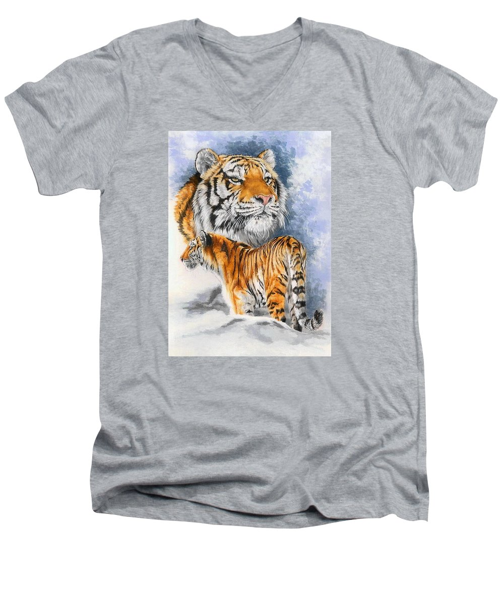 Big Cats Men's V-Neck T-Shirt featuring the mixed media Forceful by Barbara Keith