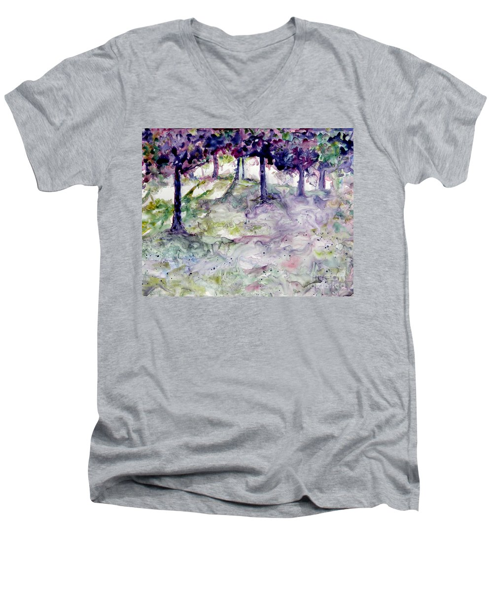 Fastasy Men's V-Neck T-Shirt featuring the painting Forest Fantasy by Jan Bennicoff