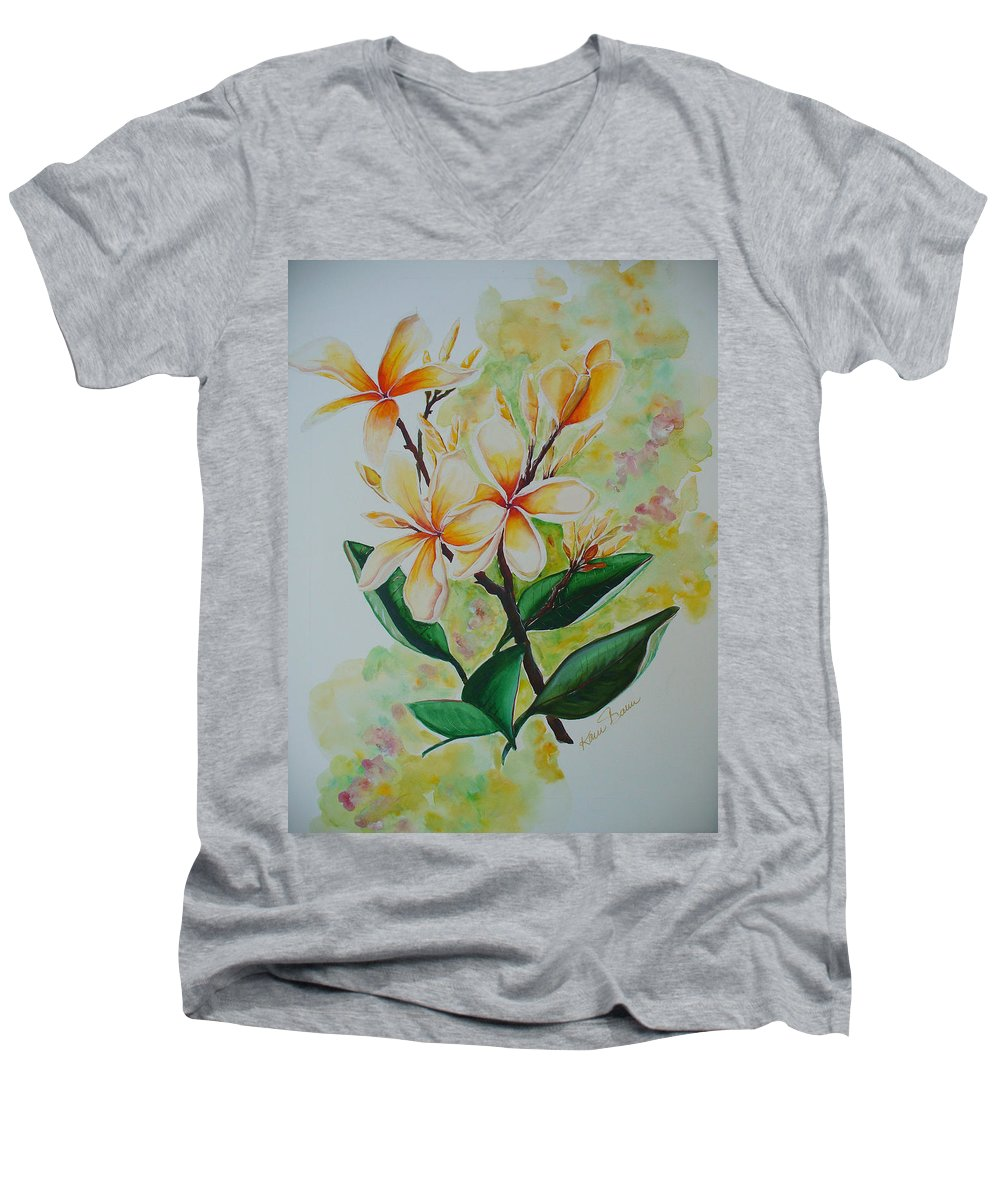 Men's V-Neck T-Shirt featuring the painting Frangipangi by Karin Dawn Kelshall- Best