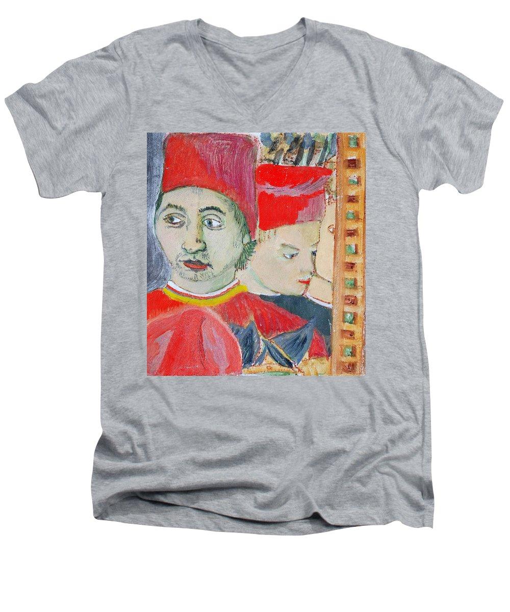 Italian Men's V-Neck T-Shirt featuring the painting Fratello by Kurt Hausmann