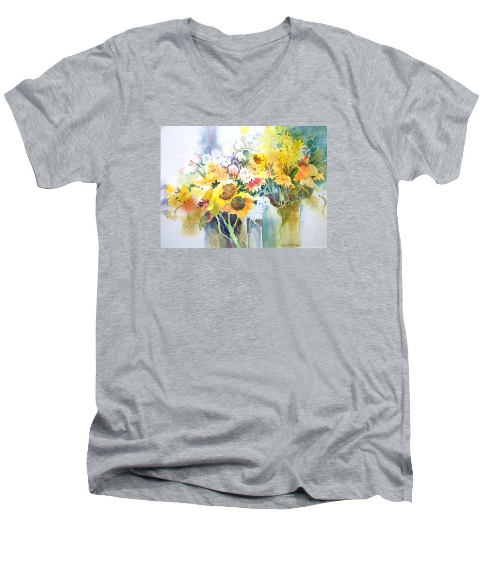Contemporary;watercolor;sunflowers;daisies;floral; Men's V-Neck T-Shirt featuring the painting Fresh-picked by Lois Mountz