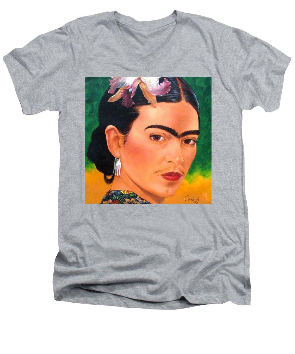 Frida Kahlo Men's V-Neck T-Shirt featuring the painting Frida Kahlo 2003 by Jerrold Carton