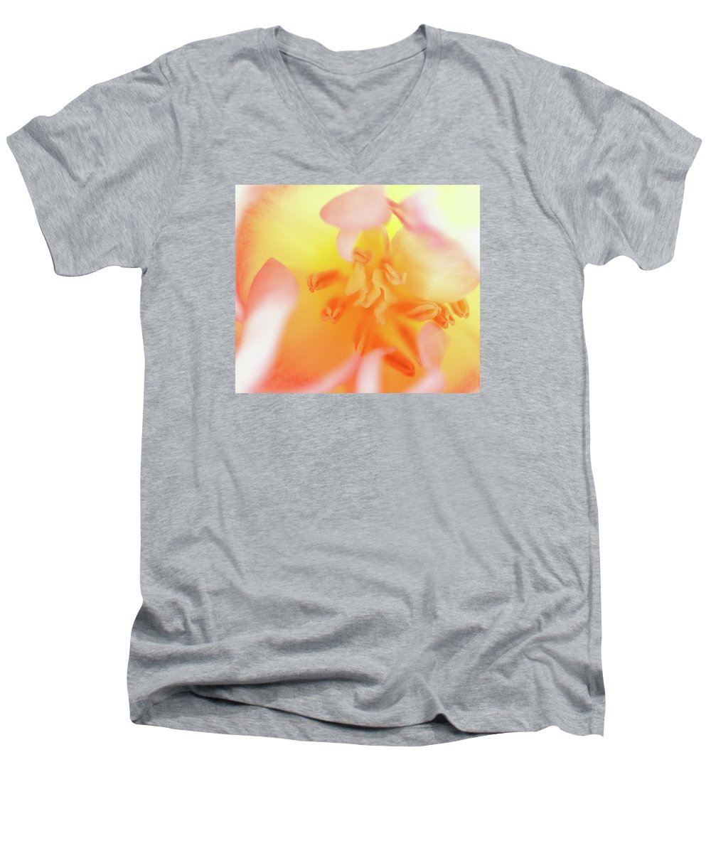 Internal Beauty Of A Tulip Men's V-Neck T-Shirt featuring the photograph From The Heart by Bill Morgenstern