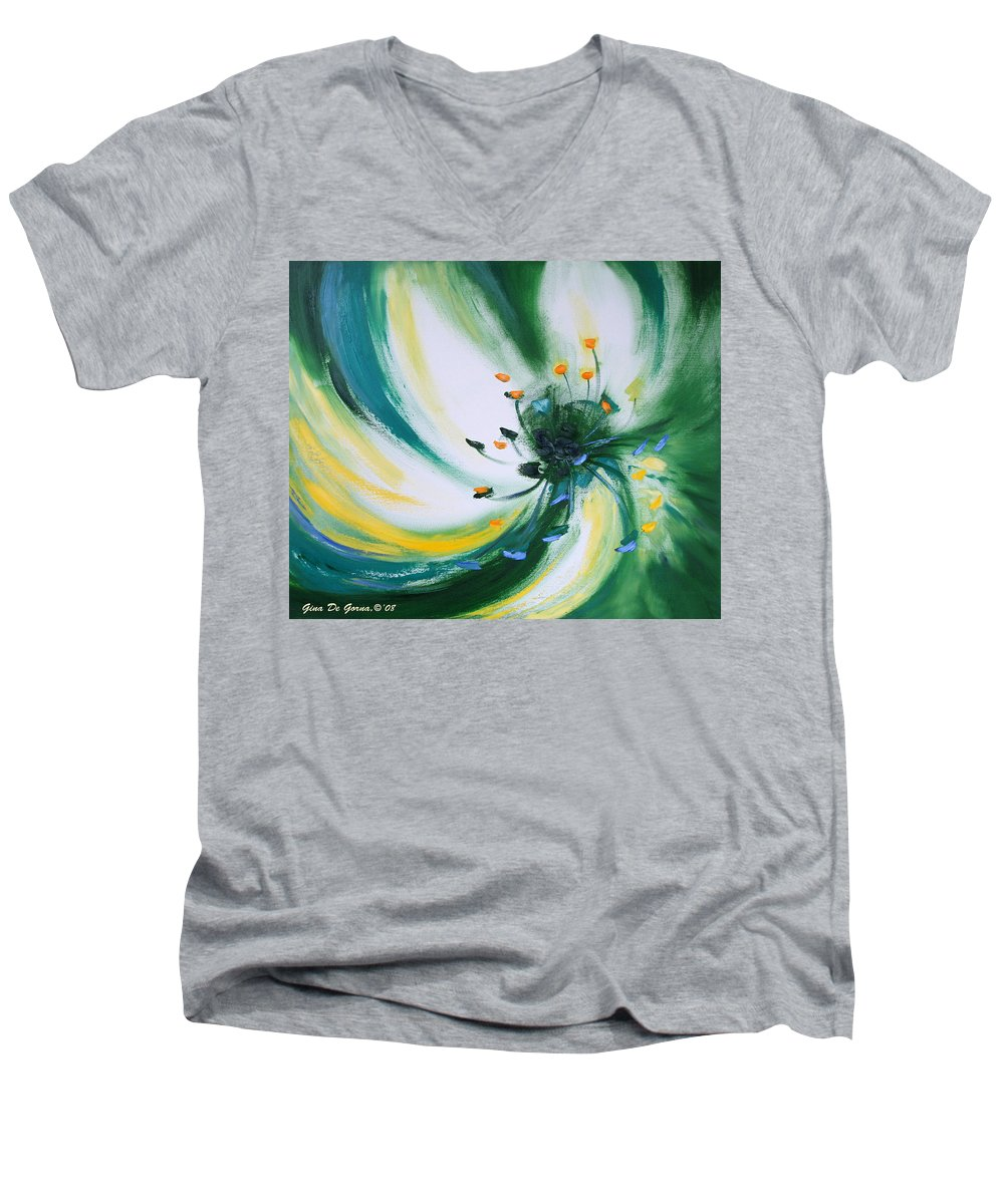 Green Men's V-Neck T-Shirt featuring the painting From The Heart Of A Flower Green by Gina De Gorna
