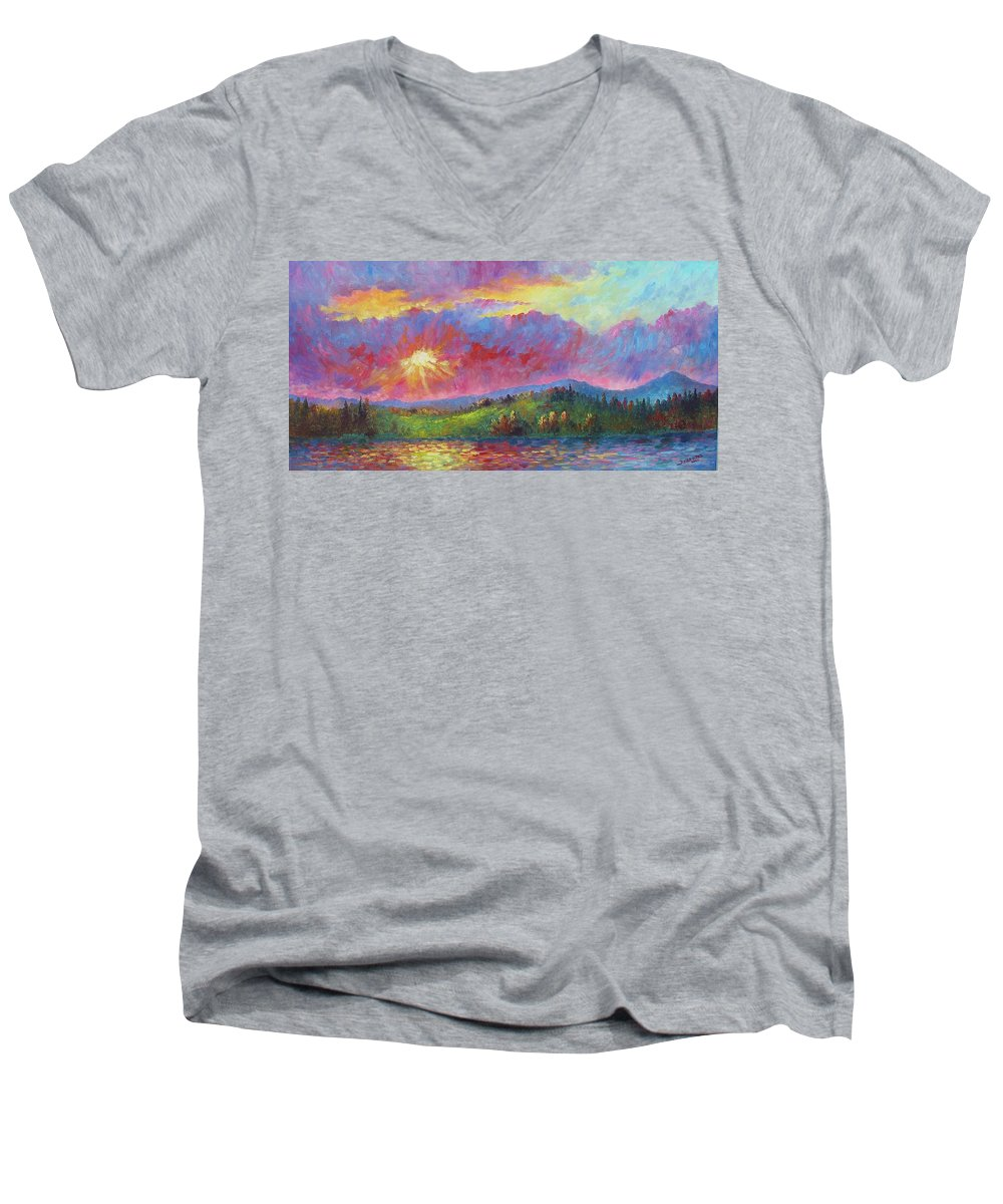 Landscape Men's V-Neck T-Shirt featuring the painting Front Range Sunset by David G Paul