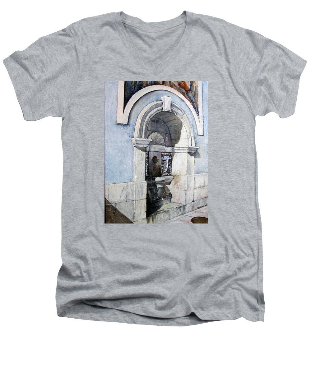Fuente Men's V-Neck T-Shirt featuring the painting Fuente Castro Urdiales by Tomas Castano
