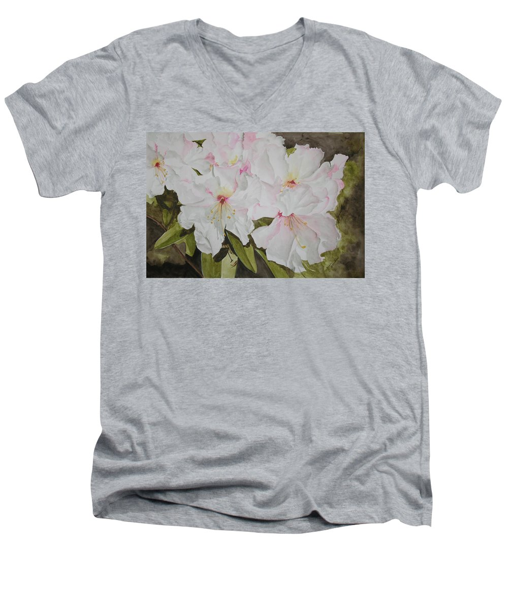 Flowers Men's V-Neck T-Shirt featuring the painting Full Bloom by Jean Blackmer