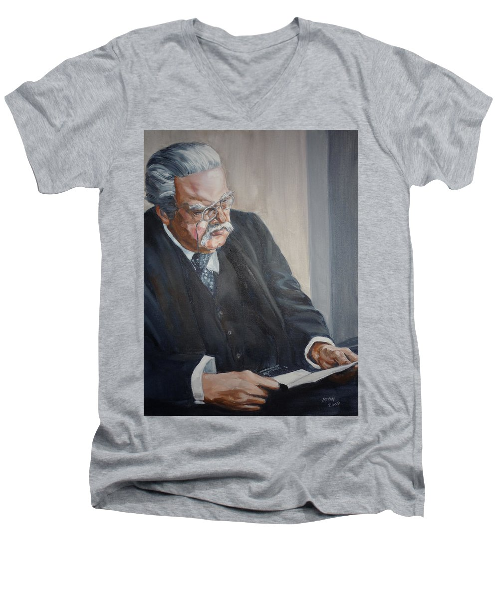 Chesterton Author Catholic Men's V-Neck T-Shirt featuring the painting G K Chesterton by Bryan Bustard