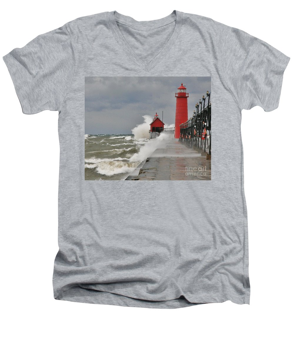 Light House Men's V-Neck T-Shirt featuring the photograph Gale Warnings by Robert Pearson