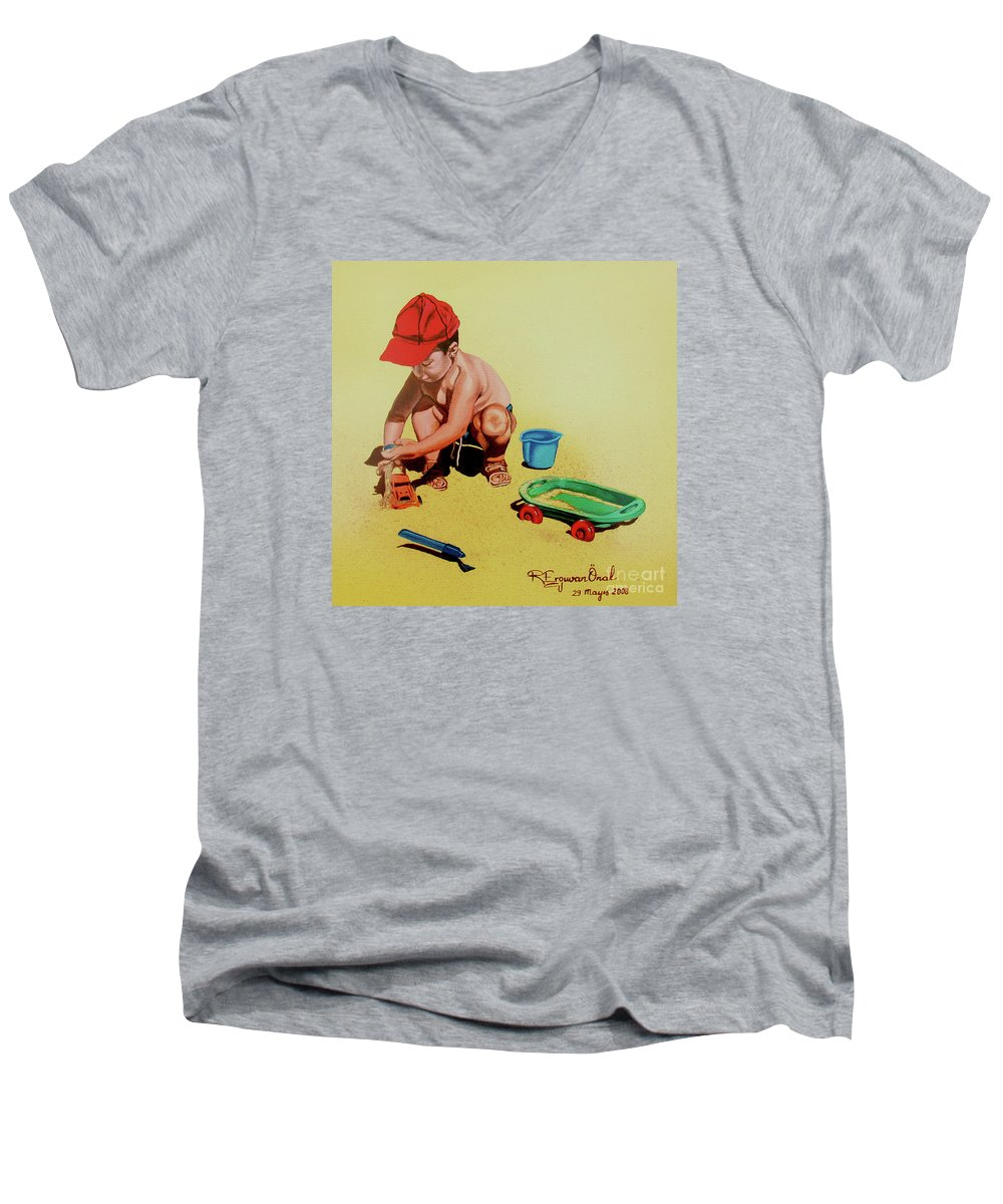 Beach Men's V-Neck T-Shirt featuring the painting Game At The Beach - Juego En La Playa by Rezzan Erguvan-Onal