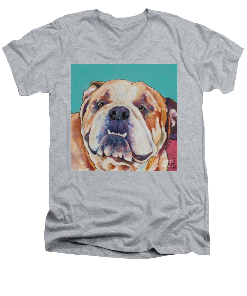 Pat Saunders-white Pet Portraits Men's V-Neck T-Shirt featuring the painting Game Face  by Pat Saunders-White