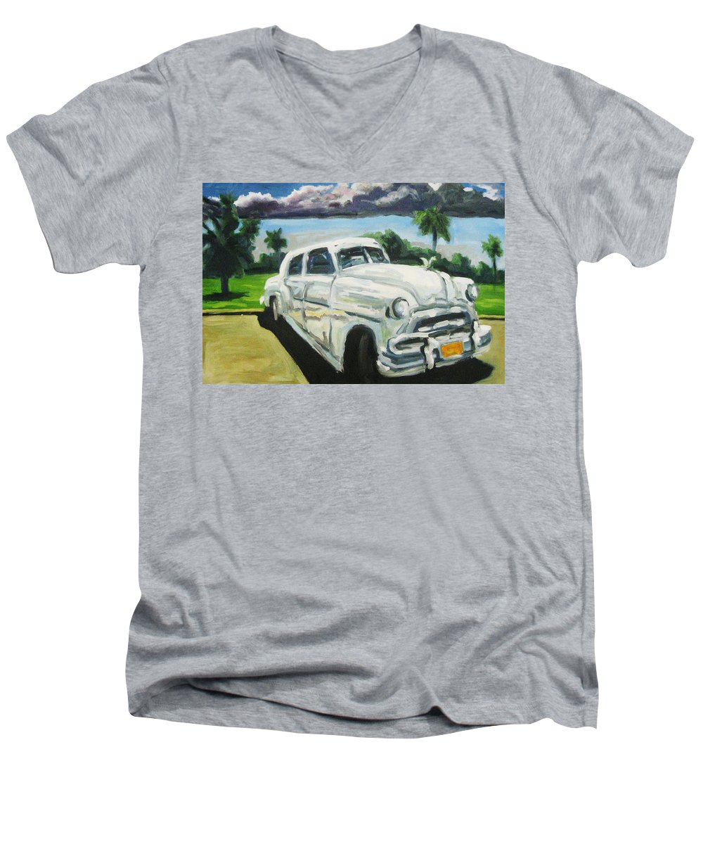 Old Cars Men's V-Neck T-Shirt featuring the painting Gangsters On Vacation by John Malone