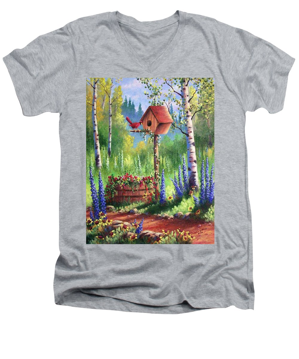 Bird Men's V-Neck T-Shirt featuring the painting Garden Birdhouse by David G Paul