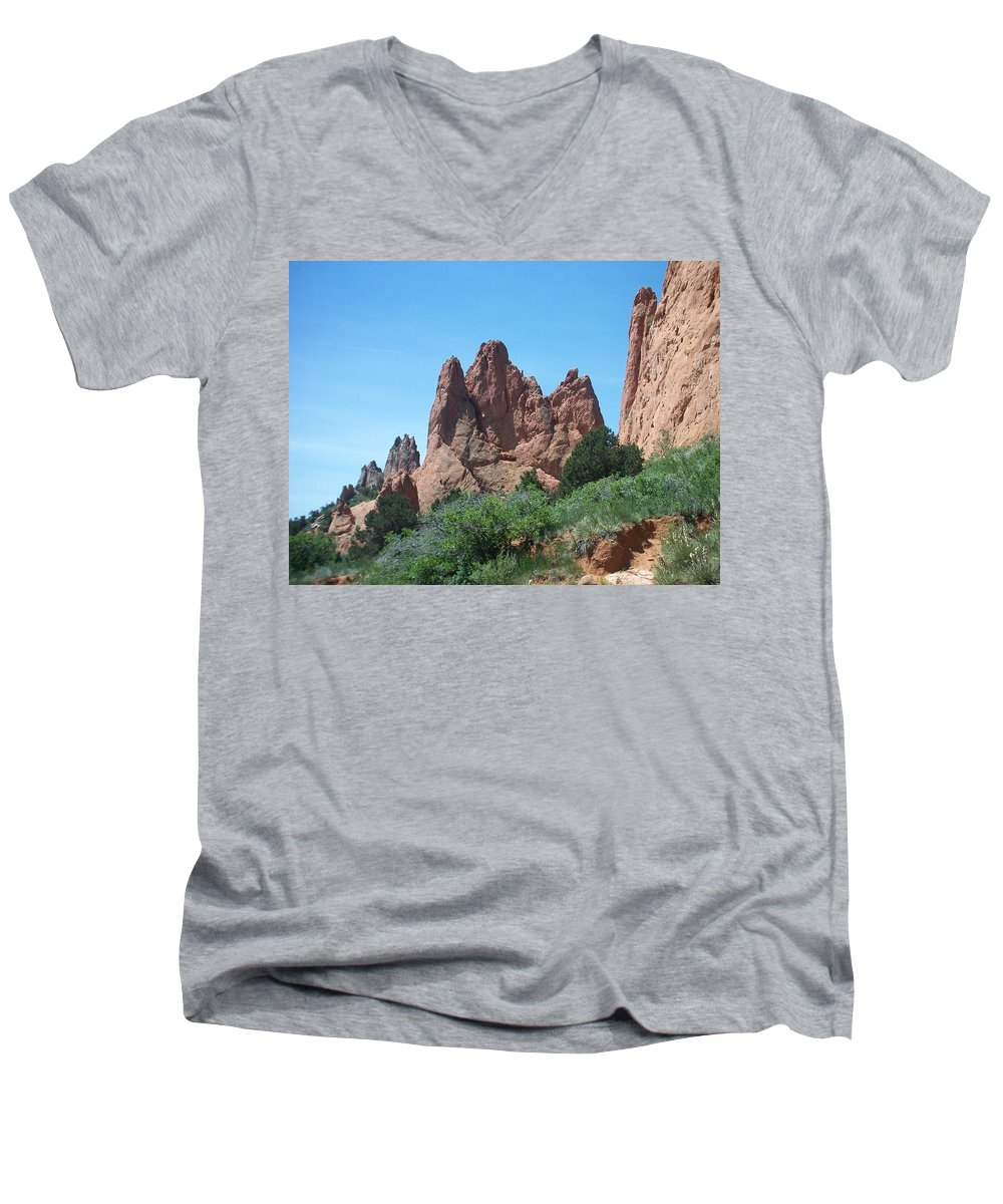 Colorado Men's V-Neck T-Shirt featuring the photograph Garden Of The Gods 2 by Anita Burgermeister