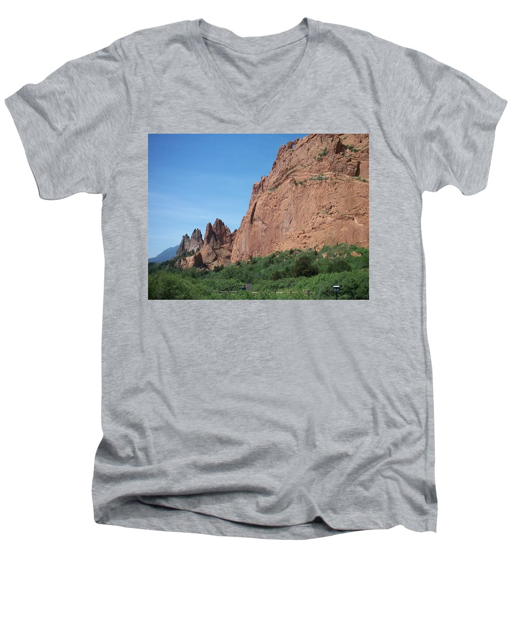 Colorado Men's V-Neck T-Shirt featuring the photograph Garden Of The Gods by Anita Burgermeister