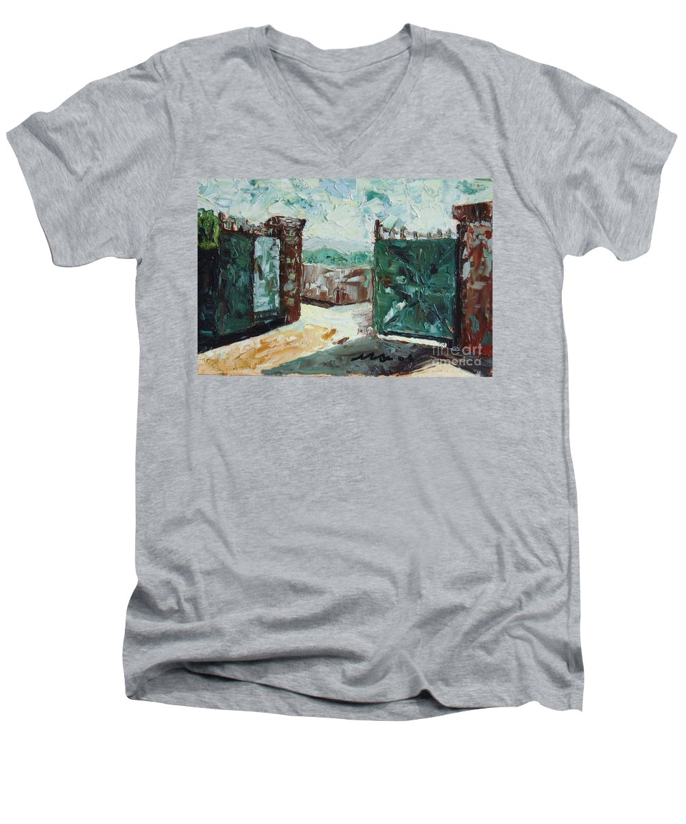 Gate Oil Canvas Men's V-Neck T-Shirt featuring the painting Gate2 by Seon-Jeong Kim