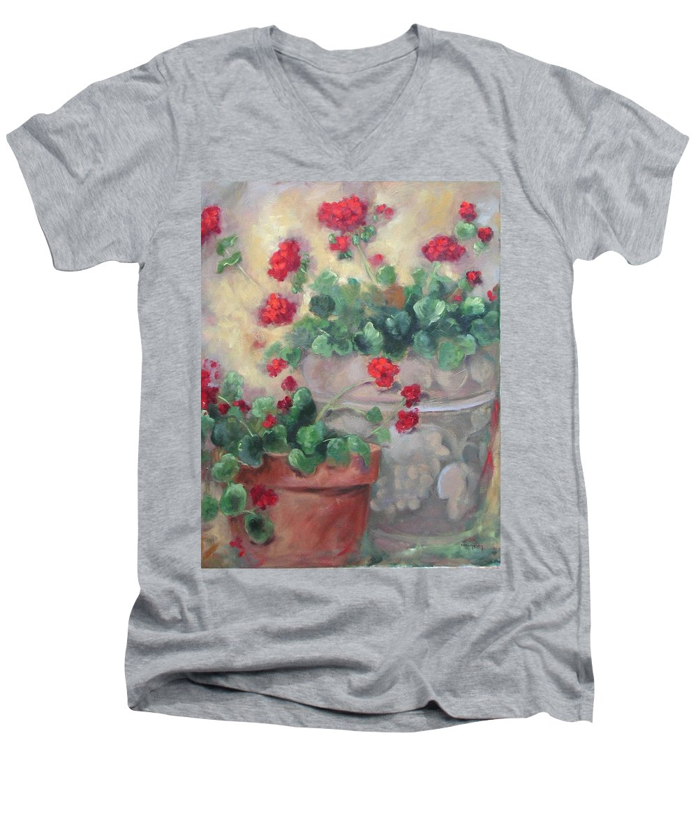 Geraniums Men's V-Neck T-Shirt featuring the painting Geraniums by Ginger Concepcion