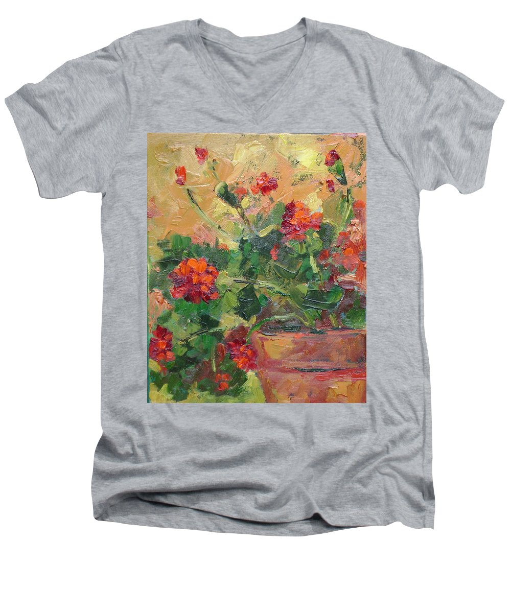 Geraniums Men's V-Neck T-Shirt featuring the painting Geraniums II by Ginger Concepcion