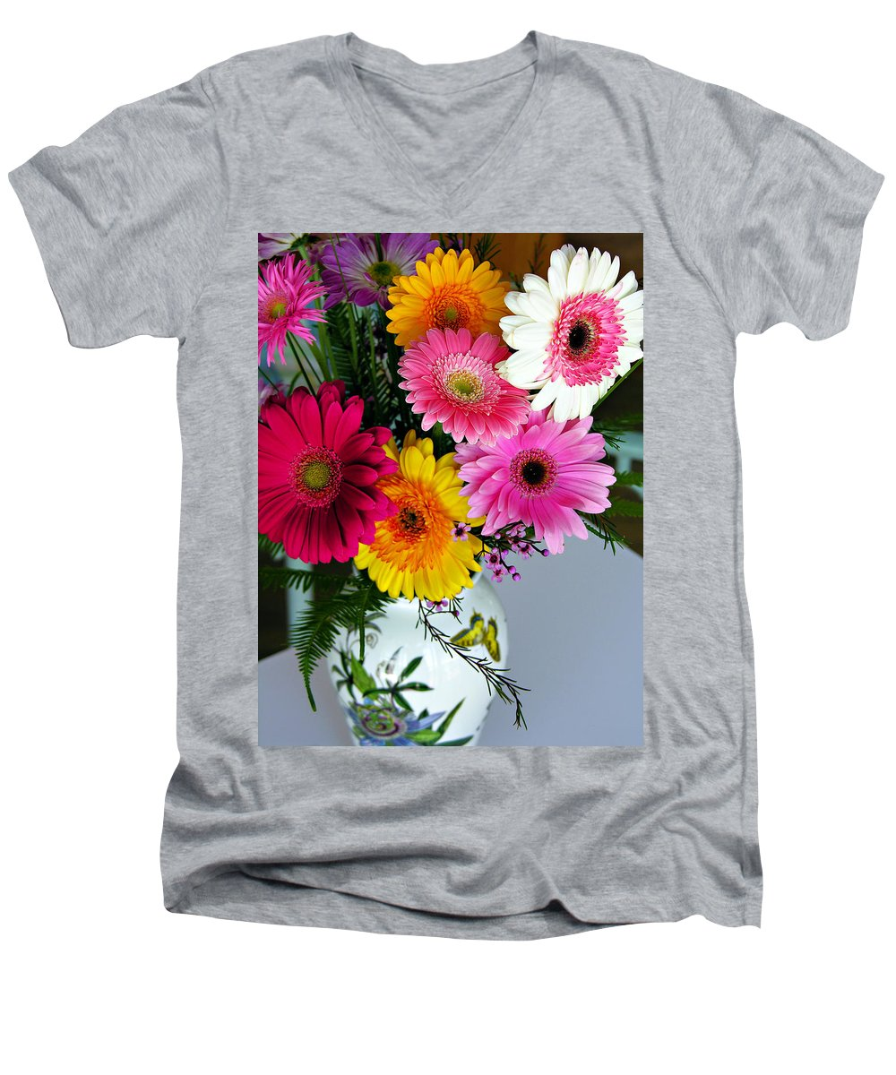 Flower Men's V-Neck T-Shirt featuring the photograph Gerbera Daisy Bouquet by Marilyn Hunt
