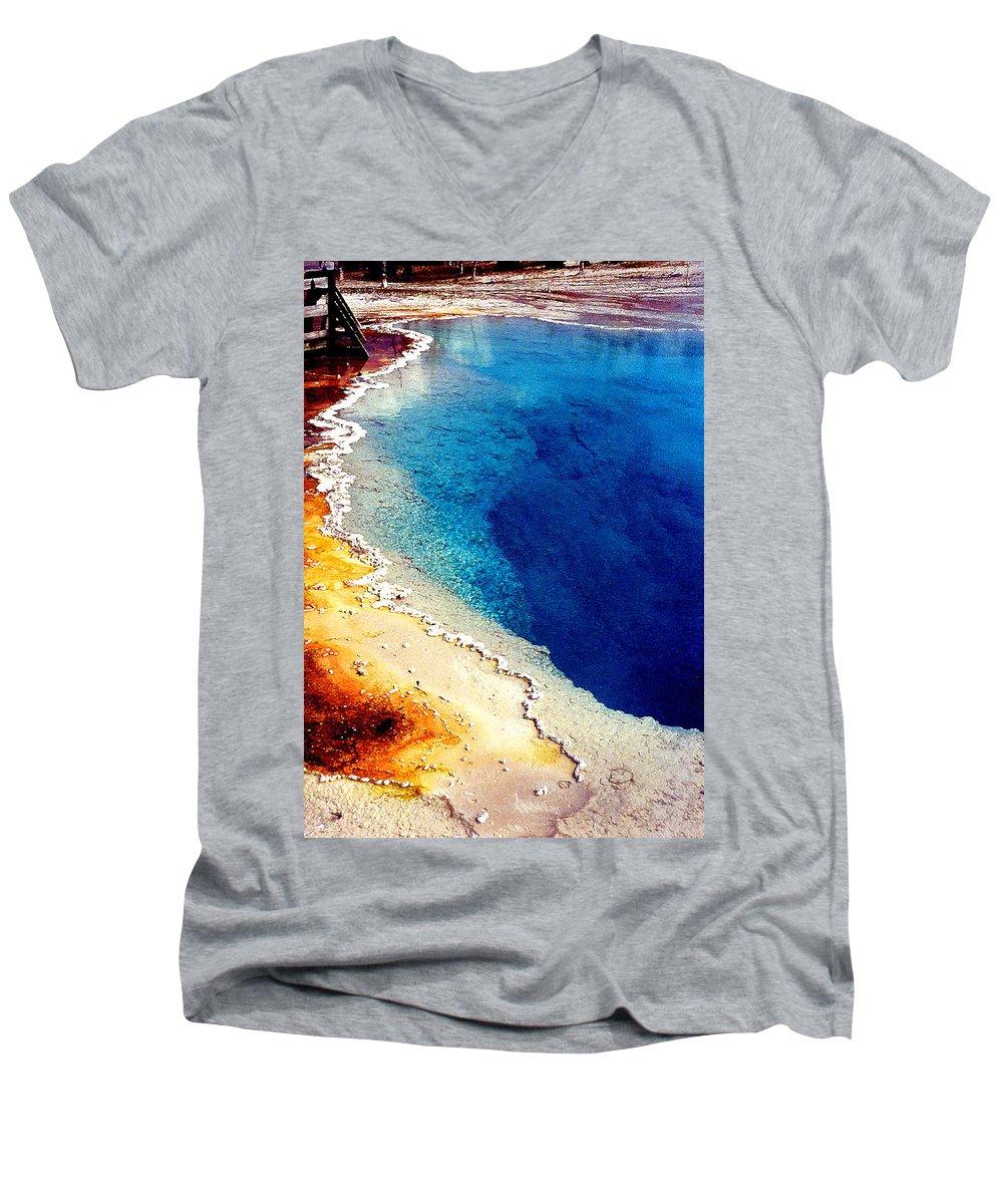 Geyser Men's V-Neck T-Shirt featuring the photograph Geyser Basin by Nancy Mueller