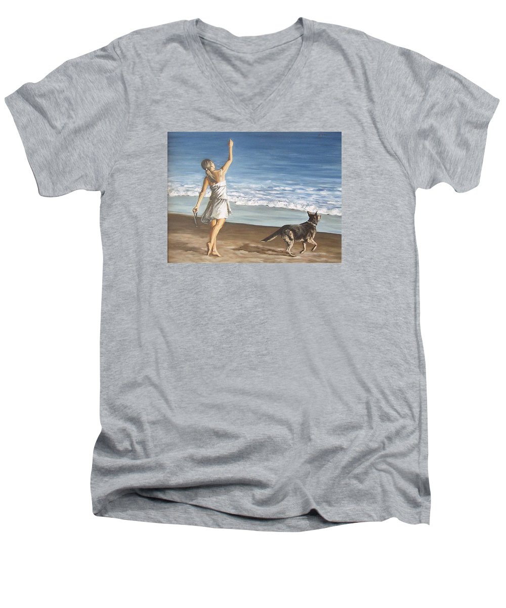 Portrait Girl Beach Dog Seascape Sea Children Figure Figurative Men's V-Neck T-Shirt featuring the painting Girl And Dog by Natalia Tejera