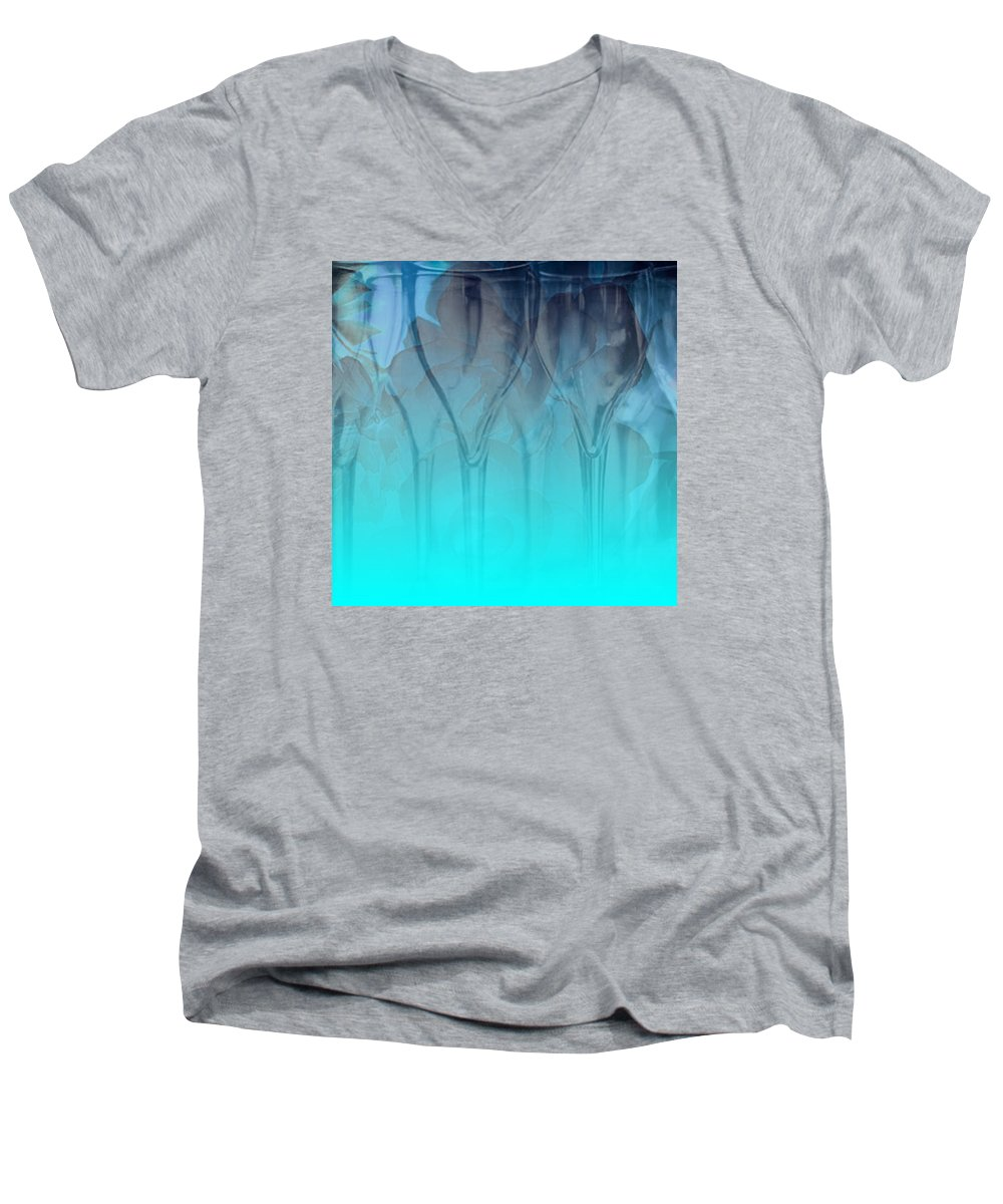 Glasses Men's V-Neck T-Shirt featuring the digital art Glasses Floating by Allison Ashton