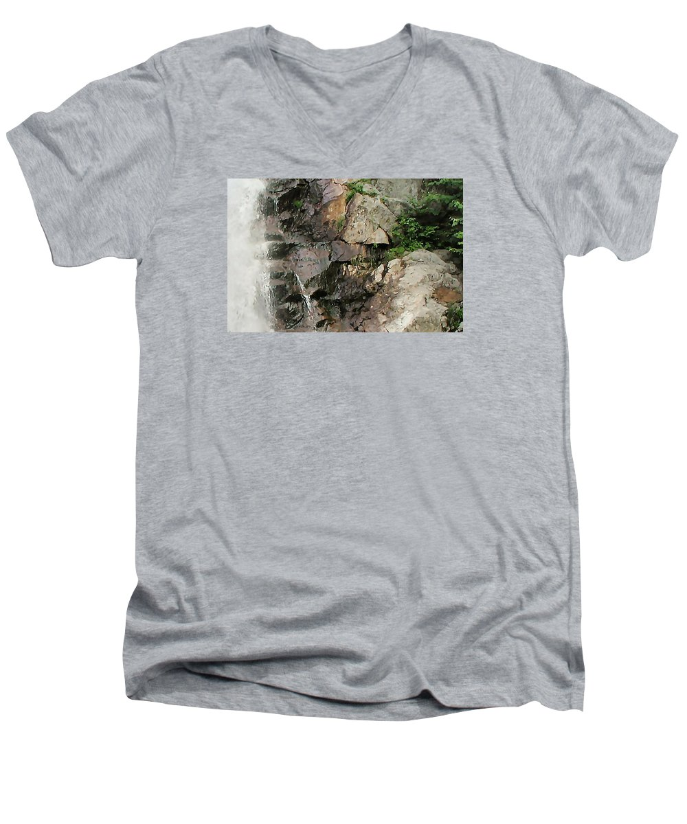 Waterfall Men's V-Neck T-Shirt featuring the photograph Glen Falls Abstract by Dave Martsolf