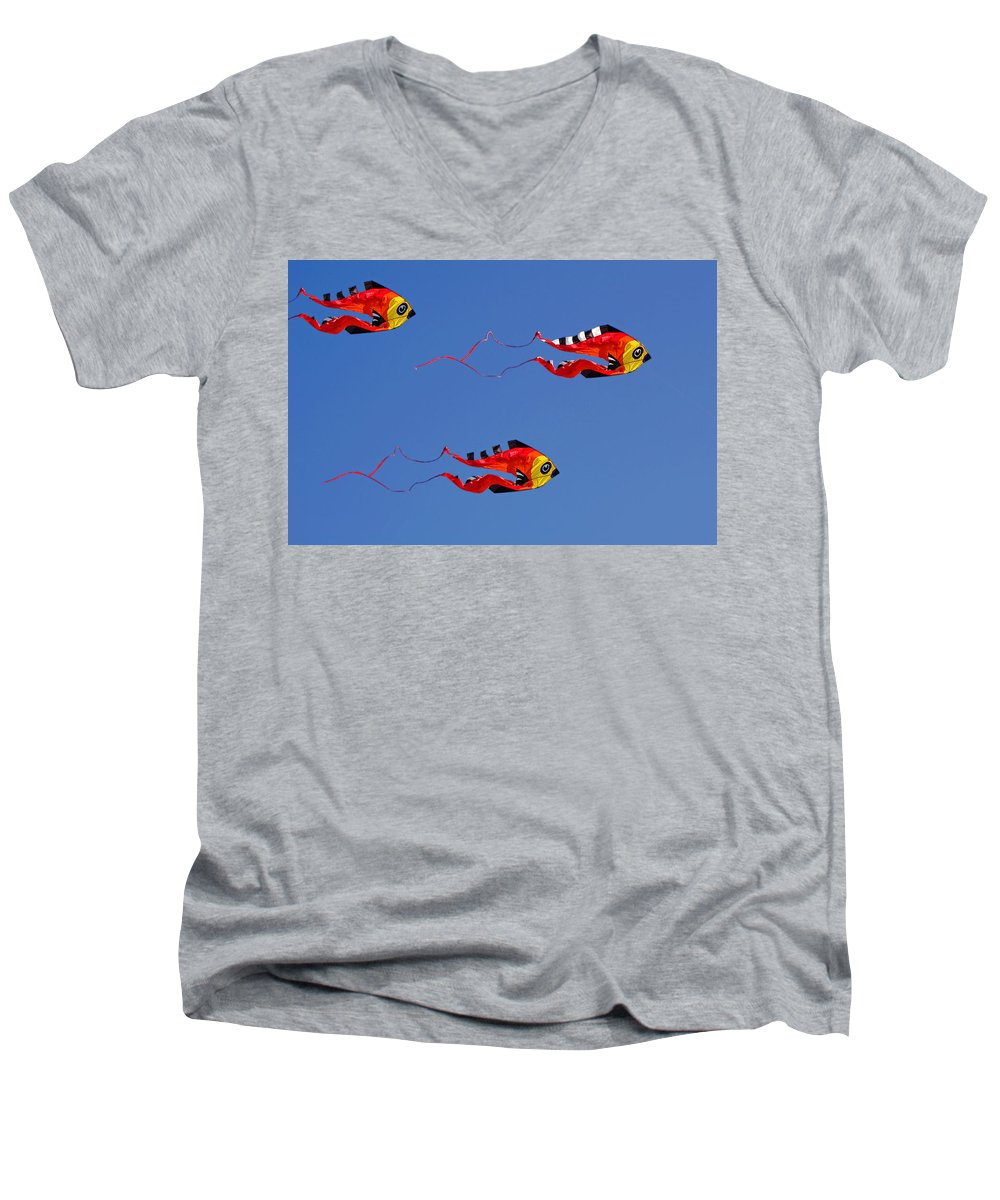 Clay Men's V-Neck T-Shirt featuring the photograph Go Fly A Kite by Clayton Bruster