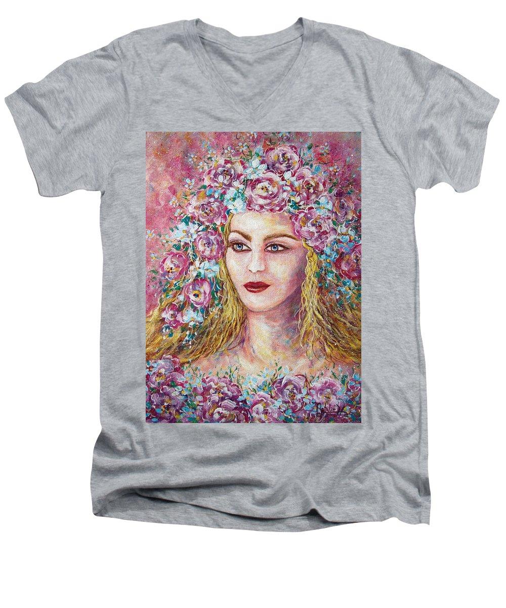 Goddess Of Good Fortune Men's V-Neck T-Shirt featuring the painting Goddess Of Good Fortune by Natalie Holland