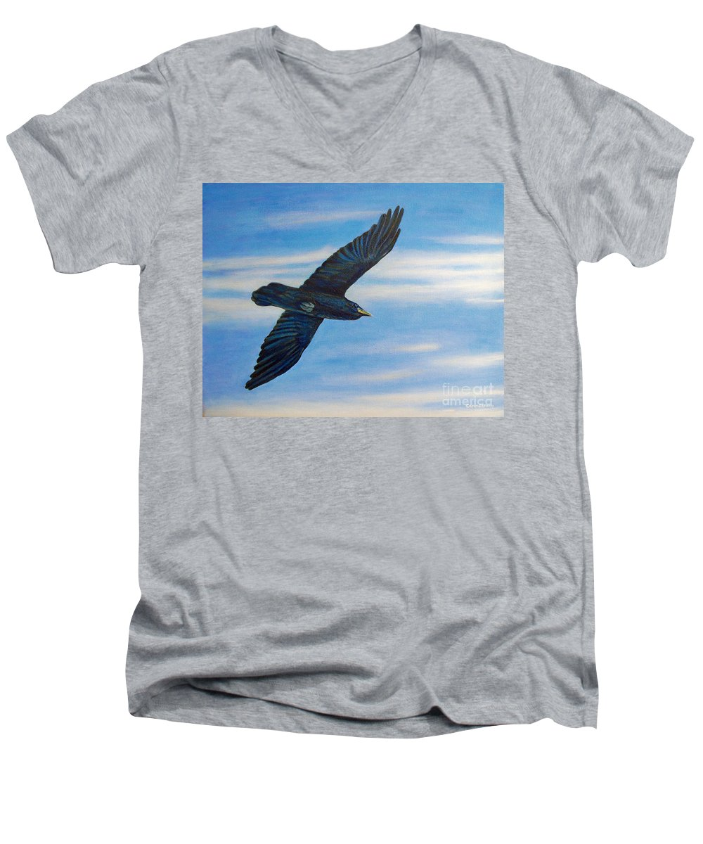 Bird Men's V-Neck T-Shirt featuring the painting Going Home by Brian Commerford
