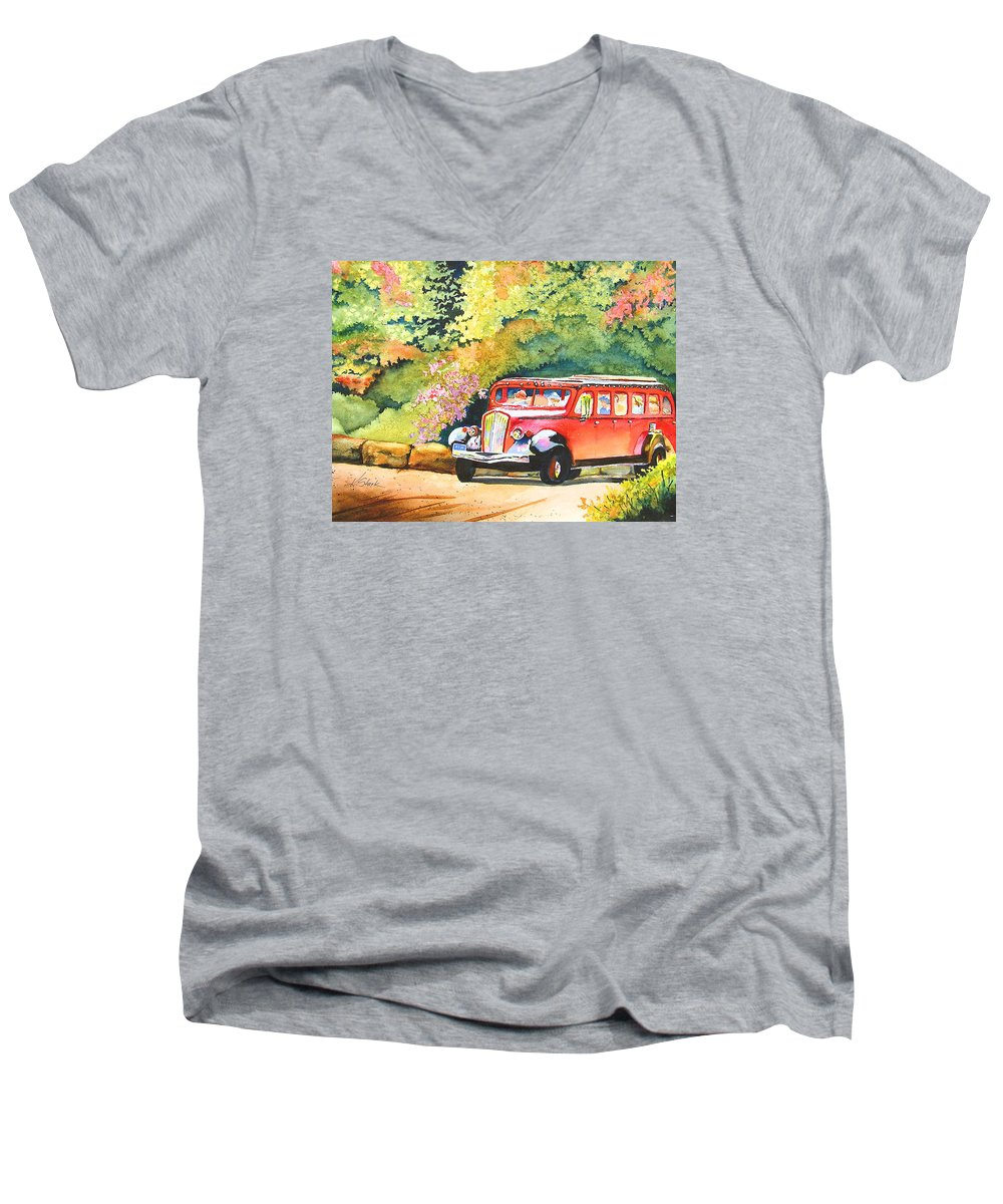 Landscape Men's V-Neck T-Shirt featuring the painting Going To The Sun by Karen Stark