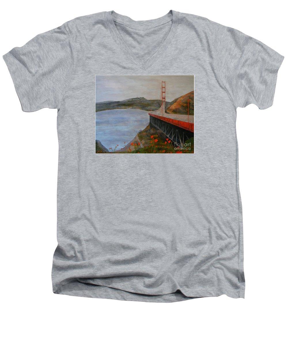 Golden Gate Bridge Men's V-Neck T-Shirt featuring the painting Golden Gate Bridge by Ellen Beauregard