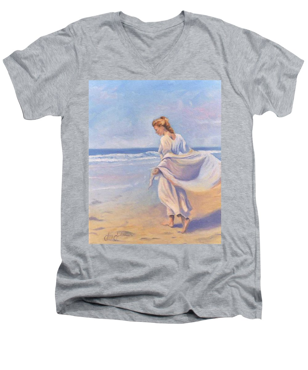 Beach Men's V-Neck T-Shirt featuring the painting Golden Girls by Jay Johnson